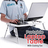 E-Stand Portable Laptop Table With Cooling Fan WhiteBlack PC & Laptop Accessories | 24HOURS.PK