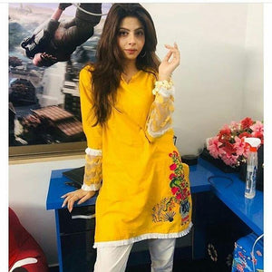 Yellow Embroidered Vase Embroidery Casual Wear Kurti For Women | 24HOURS.PK