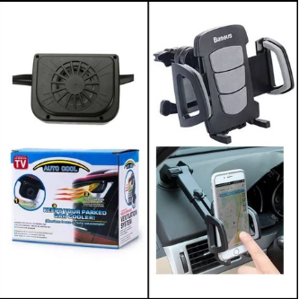 Bundle Deal - Solar Car Auto Fan + Baseus Wind Car Mount Cellphone Holder (Pack Of 2) | 24HOURS.PK