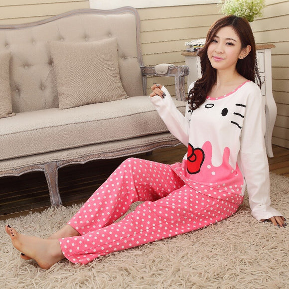 Printed Cat Night Suit Pink & White For Womens | 24hours.pk