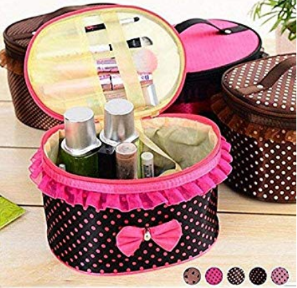 Storage Bag-Cosmetics Organizer/Toiletry Bag & Bow Tie Dot Women Multifunction Travel Makeup Case Pouch Toiletry Organizer | 24hours.pk