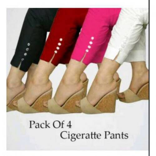 Pack of 4 Stylish Cigarette Pants for Her (005) | 24HOURS.PK