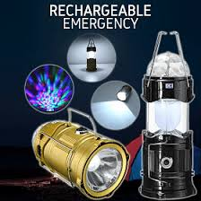 Portable Multi-Color Rechargeable Emergency 3 Modes Outdoor Laser Led Lantern Light | 24hours.pk