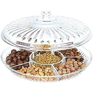 Acrylic Candy Dish Salad Tray Dry Fruit Home Decor With Lid Big Crystal | 24HOURS.PK