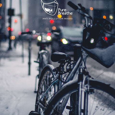 Bike in the cold winter street - Pure Breathe pollution mask