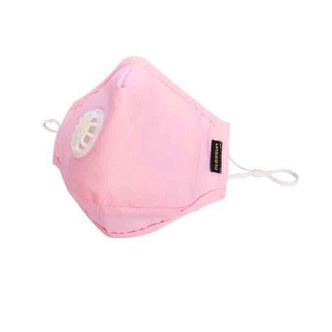 Cotton mask anti pollution - 1 breathing valve - earloops - Light pink