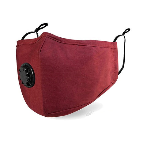 Cotton mask anti pollution - 1 breathing valve - earloops - Burgundy - front side