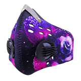 Cycling mask anti pollution - 2 breathing valve - neoprene - velcro - purple rose - front side