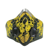Cycling mask anti pollution - 2 breathing valve - neoprene - velcro - yellow & black - Front side