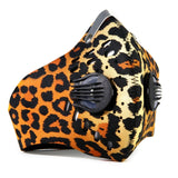 Cycling mask anti pollution - 2 breathing valve - neoprene - velcro - carbon filter N99 _ Leopard