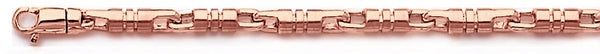 14k rose gold, 18k pink gold chain 4mm Barrel Link Bracelet