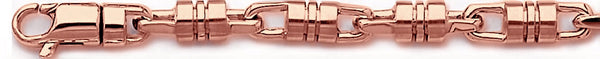 14k rose gold, 18k pink gold chain 6.8mm Barrel Link Bracelet