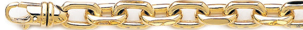 18k yellow gold chain, 14k yellow gold chain 9.2mm Flat Elongated Rolo Link Bracelet