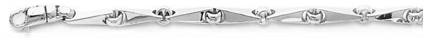 18k white gold chain, 14k white gold chain 4.2mm Angled Mirror I Link Bracelet
