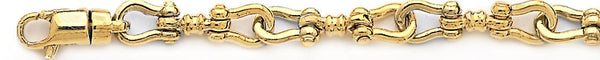 18k yellow gold chain, 14k yellow gold chain 7.6mm Yoke Link Bracelet