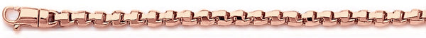 14k rose gold, 18k pink gold chain 3.3mm Rounded Box Link Bracelet