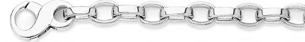 18k white gold chain, 14k white gold chain 8mm Millgrain Rolo Link Bracelet