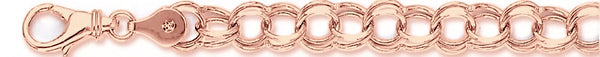 14k rose gold, 18k pink gold chain 8mm Light Charm Link Bracelet