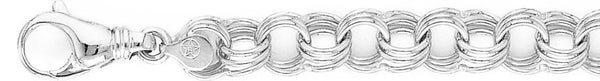 18k white gold chain, 14k white gold chain 11mm Triple Charm Link Bracelet