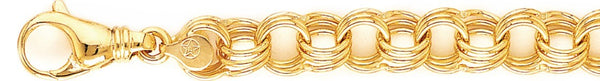 18k yellow gold chain, 14k yellow gold chain 11mm Triple Charm Link Bracelet