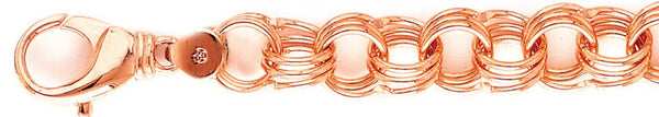 14k rose gold, 18k pink gold chain 13.8mm Triple Charm Link Bracelet