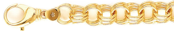 18k yellow gold chain, 14k yellow gold chain 13.8mm Triple Charm Link Bracelet