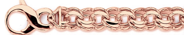 14k rose gold, 18k pink gold chain 12.8mm Double Link Bracelet