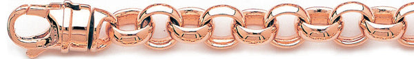 14k rose gold, 18k pink gold chain 11mm Domed Rolo Link Bracelet