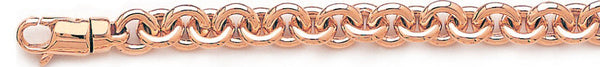 14k rose gold, 18k pink gold chain 8mm Traditional Rolo Link Bracelet