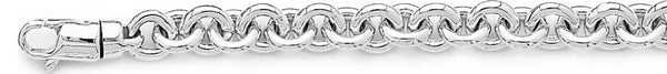 18k white gold chain, 14k white gold chain 8mm Traditional Rolo Link Bracelet