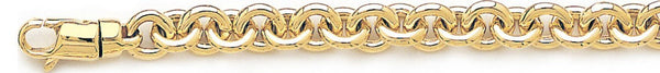 18k yellow gold chain, 14k yellow gold chain 8mm Traditional Rolo Link Bracelet