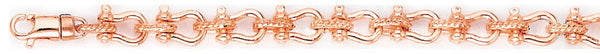 14k rose gold, 18k pink gold chain 6.4mm Yoke Link Bracelet