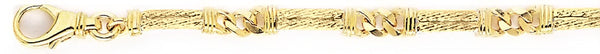 18k yellow gold chain, 14k yellow gold chain 5.4mm Cable Cap Link Bracelet