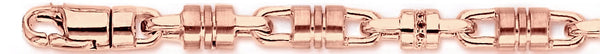 14k rose gold, 18k pink gold chain 6.4mm Barrel Link Bracelet