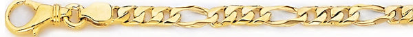 18k yellow gold chain, 14k yellow gold chain 4.9mm Square Figaro Link Bracelet