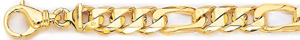 18k yellow gold chain, 14k yellow gold chain 9.1mm Figaro Link Bracelet