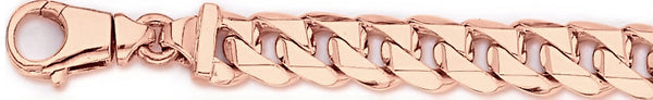 14k rose gold, 18k pink gold chain 11mm Switchblade Curb Link Bracelet