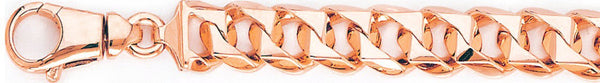 14k rose gold, 18k pink gold chain 11.2mm Switchblade Curb Link Bracelet