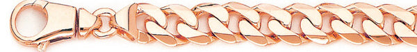 14k rose gold, 18k pink gold chain 10.1mm Beveled Flat Curb Link Bracelet