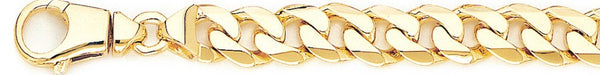 18k yellow gold chain, 14k yellow gold chain 10.1mm Beveled Flat Curb Link Bracelet