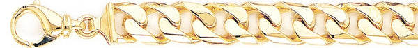 18k yellow gold chain, 14k yellow gold chain 10.3mm Beveled Flat Curb Link Bracelet