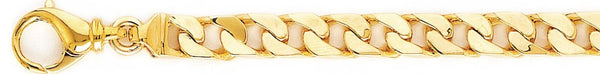 18k yellow gold chain, 14k yellow gold chain 7.4mm Traditional Curb Link Bracelet