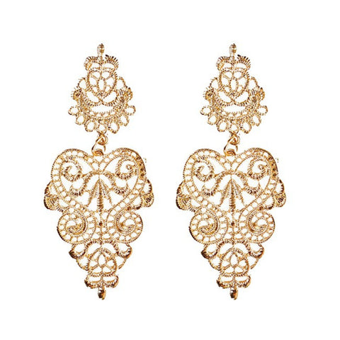 Aaliyah Gold Lace Earrings