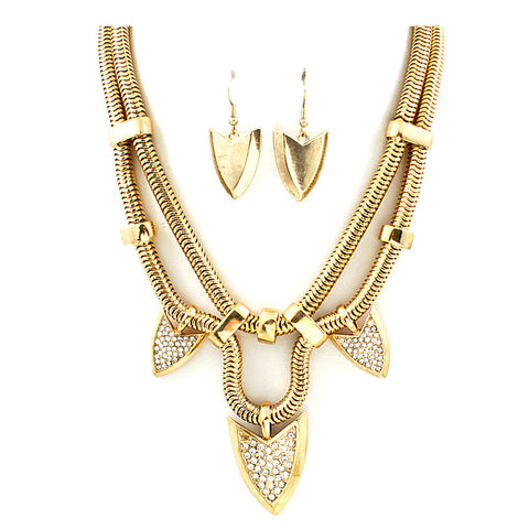 Golden Arrow Necklace Set