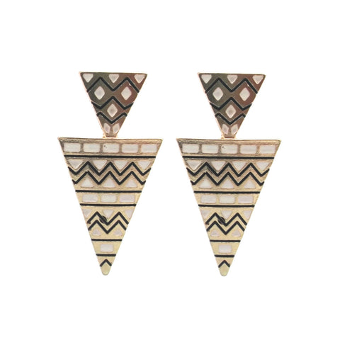 Black and White Aztec Earrings