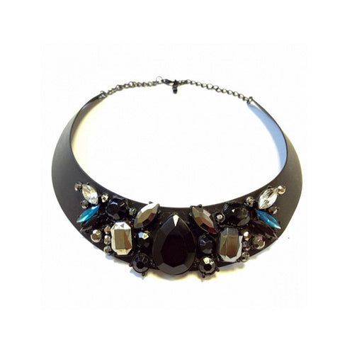 Black Bejewelled Collar Necklace