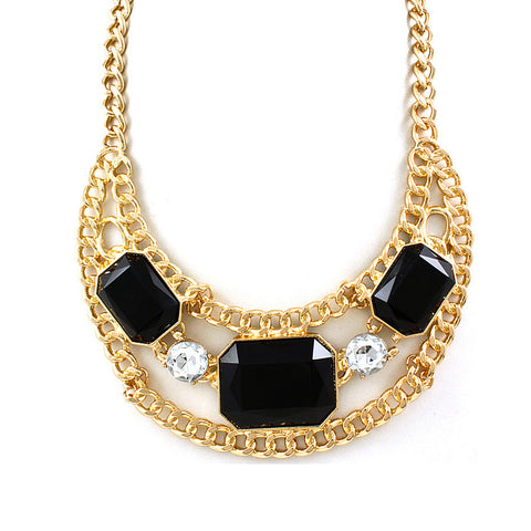 Black Bling Gem Bib Necklace