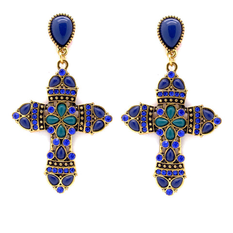 Blue Vintage Ornate Cross Earrings