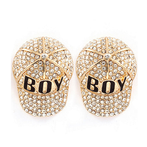 'Boy' Baseball Cap Earrings