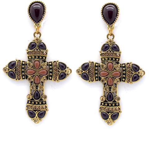 Brown Vintage Ornate Cross Earrings